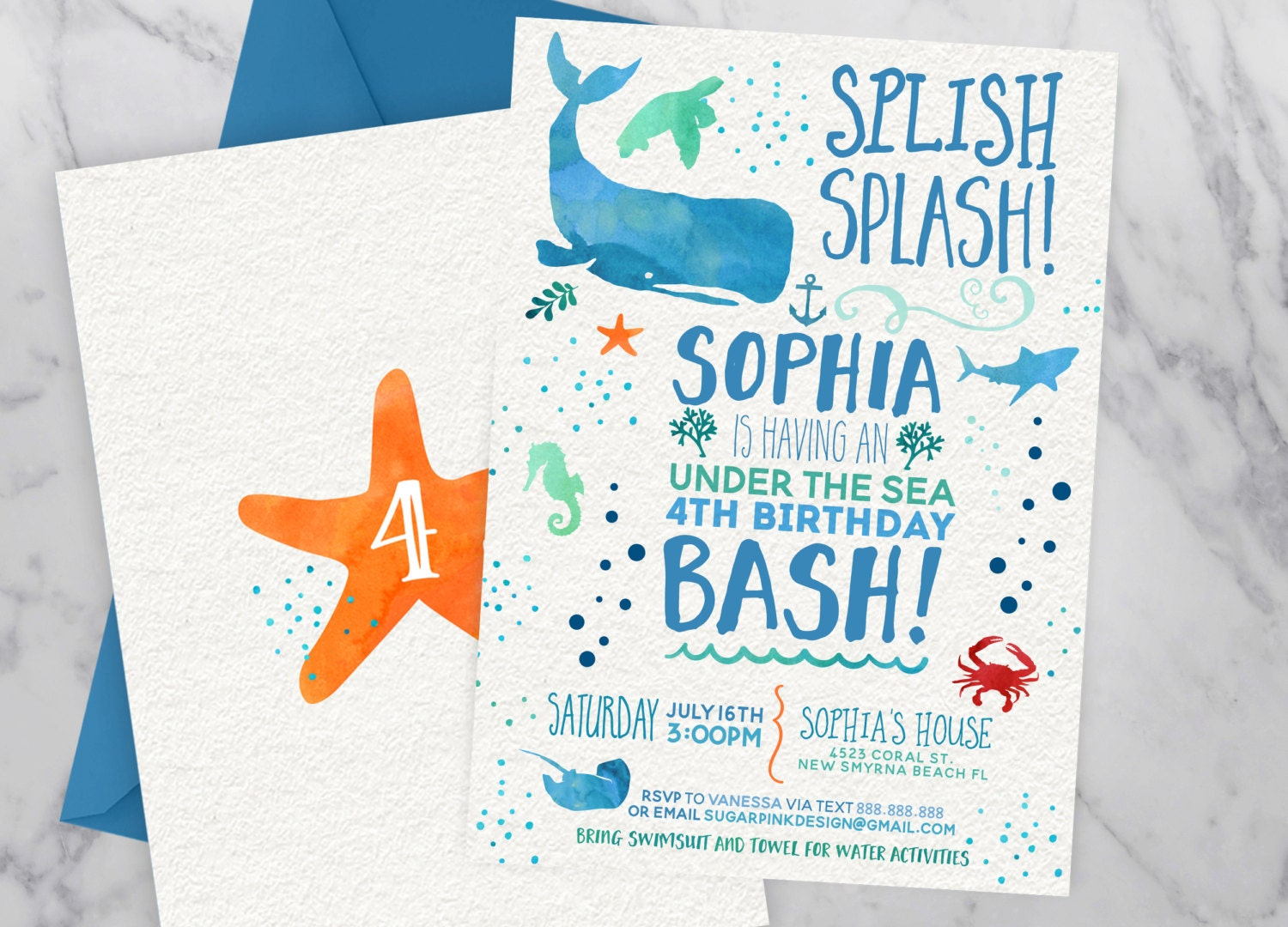 Under the sea invitation | Under the sea birthday | Ocean Birthday ...