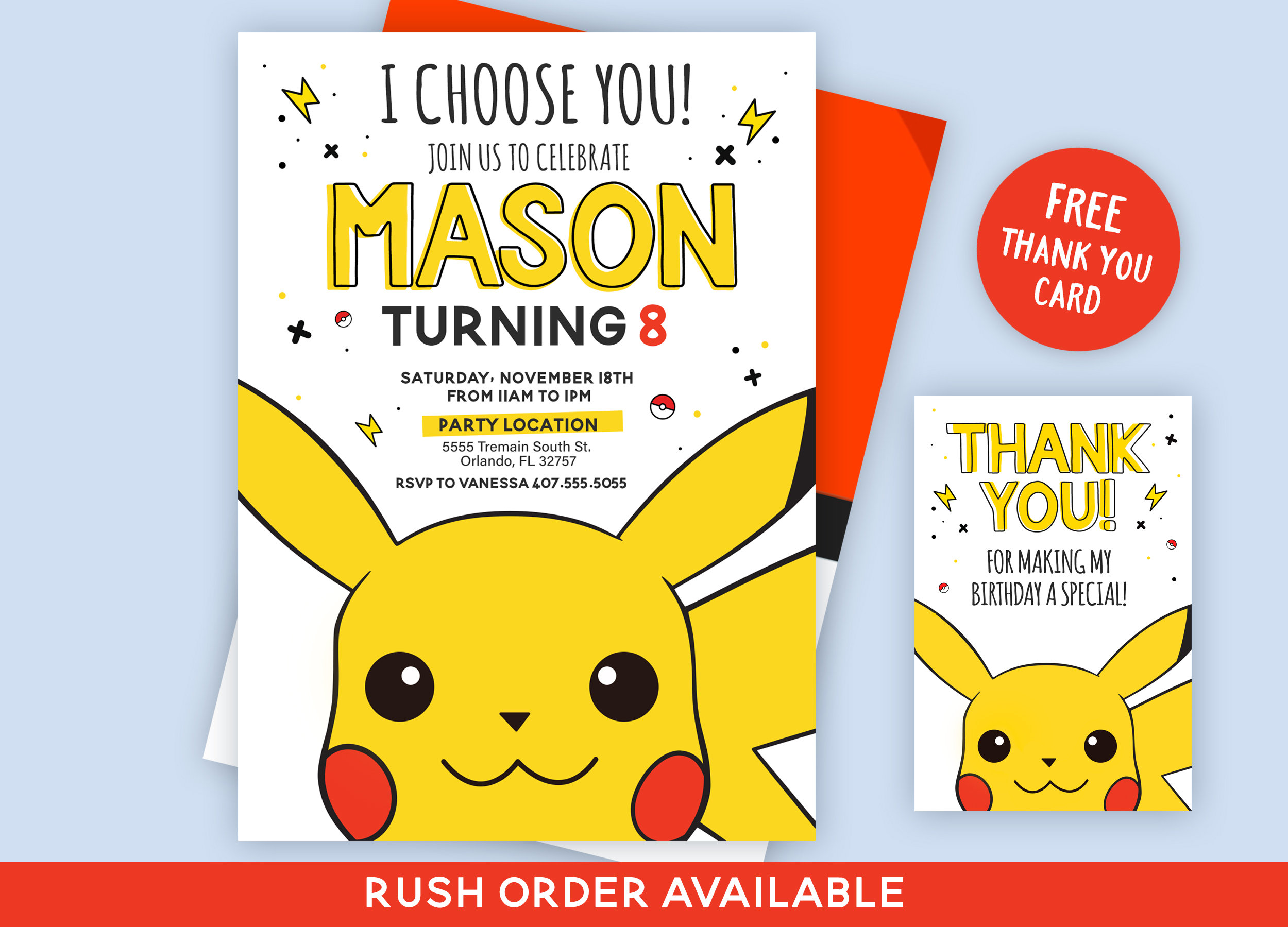 This is a photo of Pokemon Party Invitations Free Printable in white