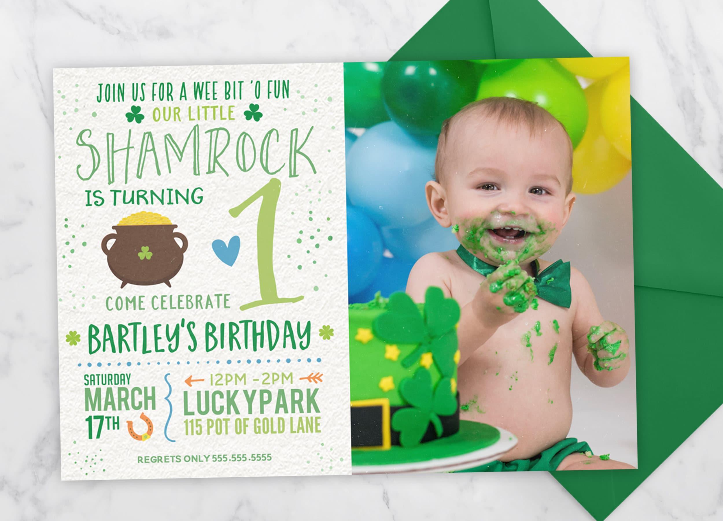St Patricks Day Birthday Invitation Little Shamrock Girl Birthday