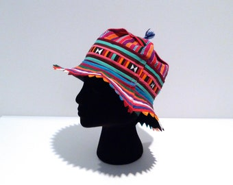 Multicolor Hat from Thailand Vintage Rainbow Crazy Hat Day Hmong Tribal  Fabric Cap   Brimmed Fabric Hat 1990s 8c791e5407eb