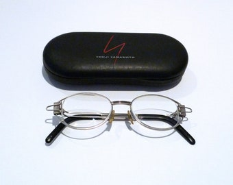 c8e64d3a4ff Yohji Yamamoto Eyeglasses and Case 52-4103 90s Vintage Metal Eye Glasses  with clip accents Wire Frame Glasses Paperclip Clamp Made In Japan