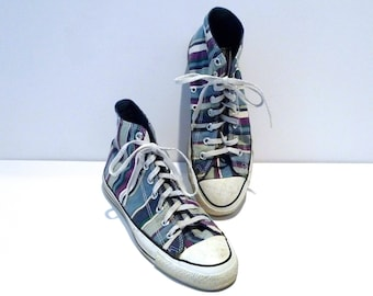 95ccf60876c Blue   Purple Stripe Converse Hi tops 1990s Vintage Chuck Taylor All Star  Hi Sneakers Made in USA Mens Size 8 Womens Size 10 High Top Shoes