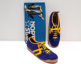 North Star Sneakers 1970s Size 9 Mens Vintage Royal Blue and Yellow Tennis  Shoes Blue Suede Trainers Retro 853-9327 with original box c37f424d7