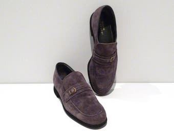 32e84505680 Hush Puppies Shoes Vintage Gray Loafers with Gold Buckle Accent Mens Size 9  Grey Suede Slip Ons Rockabilly Hipster Grandpa 1970s 1980s