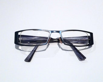 66a37b79e06 Bellinger Eyeglasses with Blue Frames from Denmark Vintage Metal Glasses  with original case Used   Selling As Is