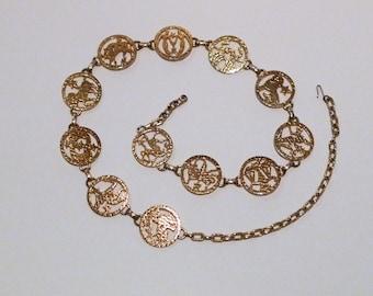 Zodiac Belt Vintage Horoscope Gold Tone Metal Chain Link Belt Cosmic Star Signs Interlocking Medallions 70s Capricorn Aquarius Pisces Aries