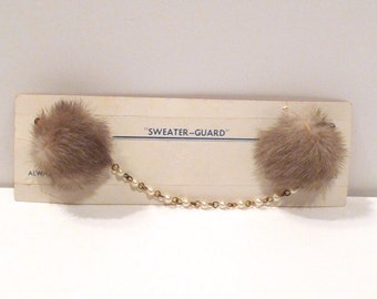 Mink Sweater Guard Vintage Mink Critter Sweater Clip Original Card Sweater Chain with Mink Puff Grips Genuine Mink  Free UsA Shipping
