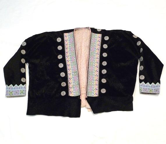 Noire Brodée Maï Vintage Hmong Etsy Veste Chang Thaïlande Velours TdvnqCw