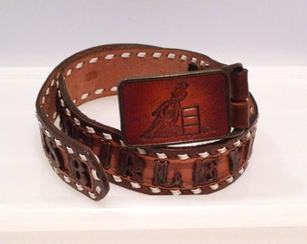 Tooled Leather Belt Vintage Shirley Personalized Stamped Leather Horeses and Flowers Cowboy Belt Rockabilly 1970s 1980s Barrel Racer Rodeo