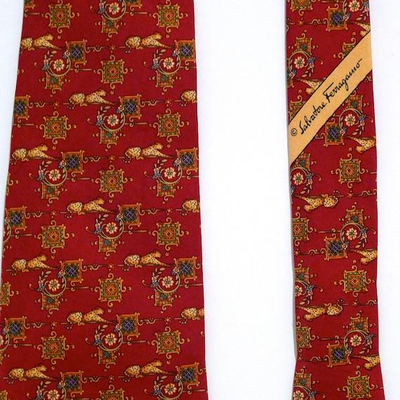1446fb2b7bce Salvatore Ferragamo Silk Tie with Cheetahs Vintage Dark Red | Etsy