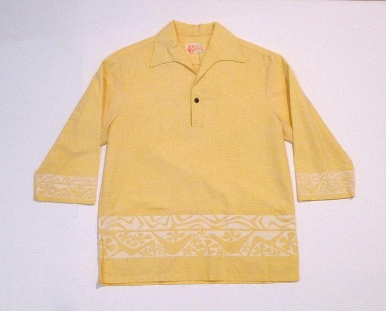 56ad02be Iolani Hawaiian Shirt Vintage Iolani Yellow Pullover Shirt | Etsy
