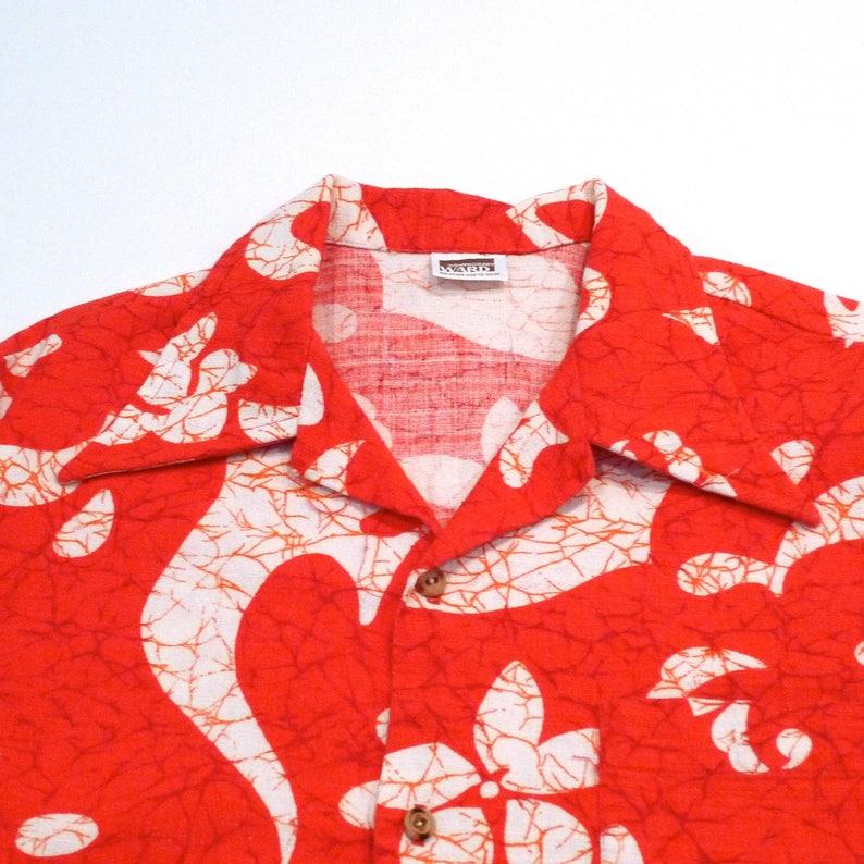 44e05ea1 Orange Barkcloth Hawaiian Shirt 70s Vintage Petroglyph | Etsy