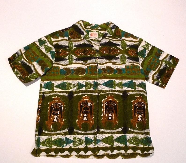 9d5e2f38 Liberty House Hawaiian Shirt Vintage Iolani Tiki Border Print | Etsy