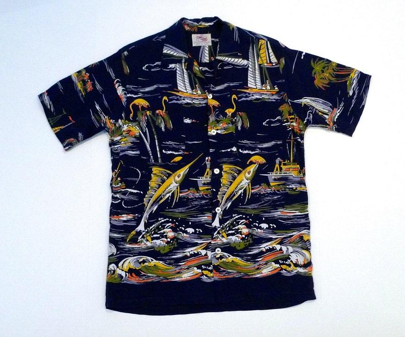 2f1ec553 Duke Kahanamoku Hawaiian Shirt 1940s Vintage Aloha Shirt Cisco | Etsy