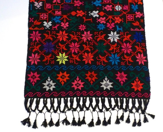 Embroidered Fringed Shawl Vintage Mexican Black Wr