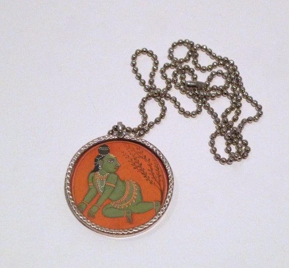 Baby Krishna Pendant from India 1990s Vintage Miniature Painting  Print Necklace  Crawling Bala Krishan Hindu Divine God
