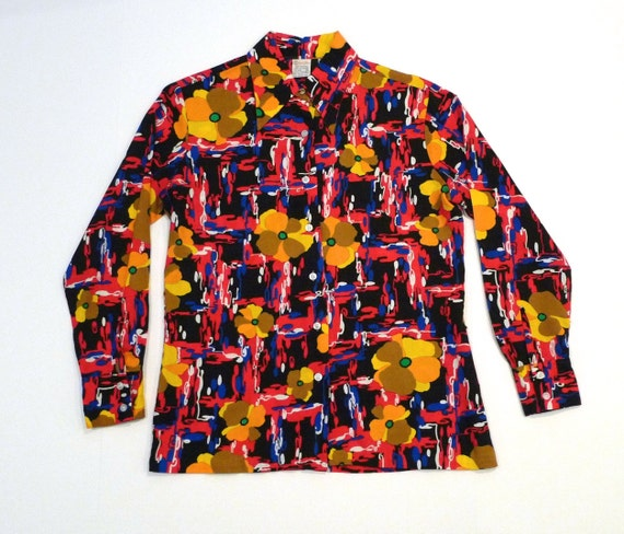 Vintage 1970/'s Psychedelic Floral Button Up Blouse with Pointed Collar