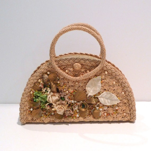 Seashell Handbag 1950s 1960s Vintage Flowers and S