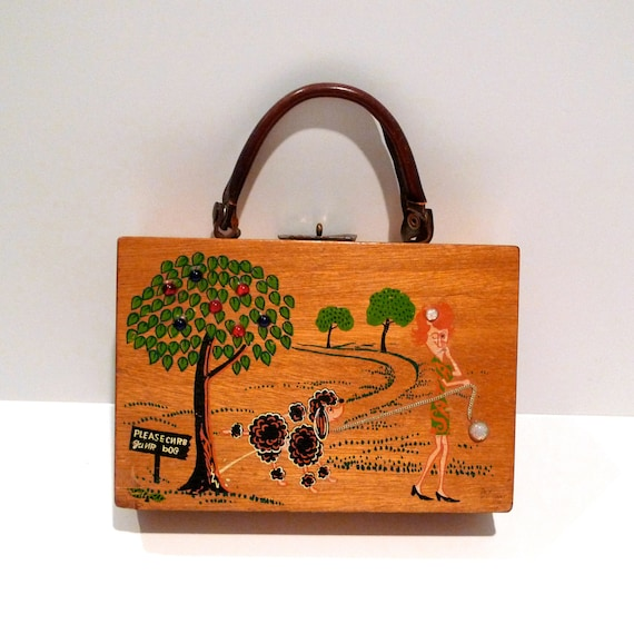 Poodle Box Bag Vintage Simon Curb Your Dog Wooden