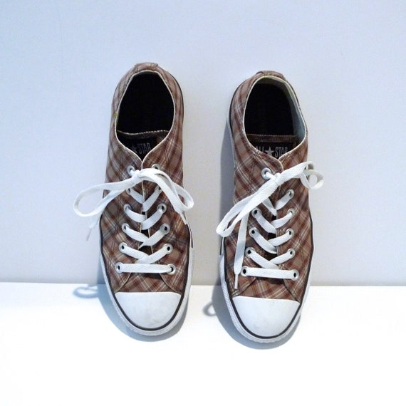 Brown White Plaid Converse Low tops Vintage Chuck Taylor All Star Sneakers Lo Oxfords Lace Up Shoes Mens Size 8 Womens Size 10 Tennis Shoes