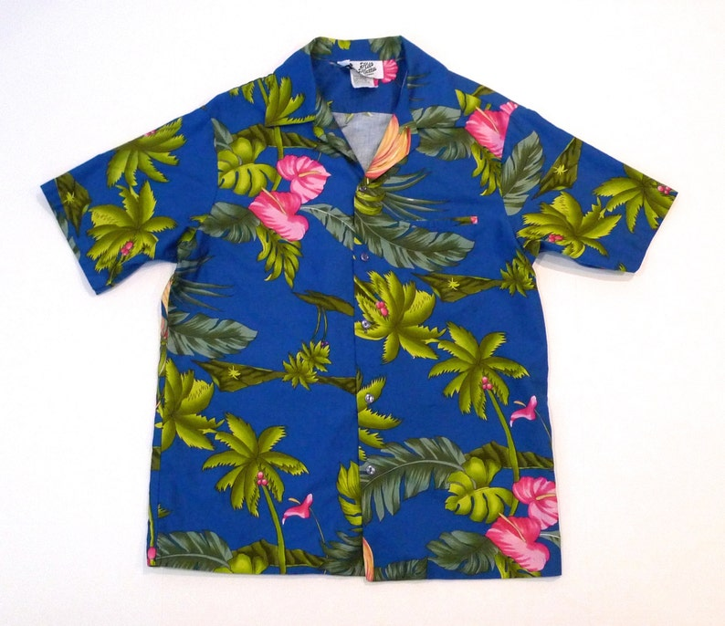 aa653caa75 Hilo Hattie Hawaiian Shirt Mens 70s 80s Vintage Blue and Pink Floral Print  Aloha Shirt Cotton Hawaii Tiki Party Luau Tropical Flowers