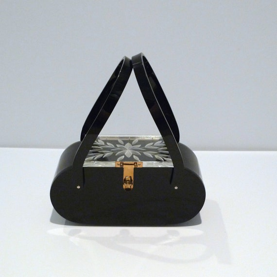 Black Lucite purse with clear lid 1950s Vintage Ca