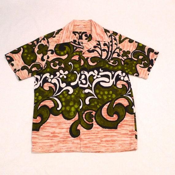 1960s Tropical Op Art Print Dress
