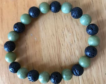 Lava stone and green bead bracelet