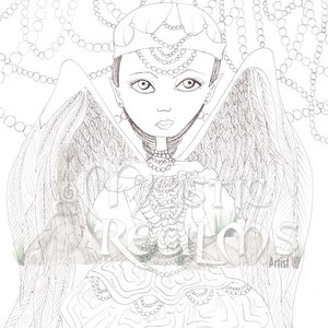 Woodland Fairy Coloring Page Download Faerie Hand Drawn Etsy