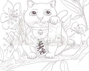 Lucky Cat Coloring Page Download Cat Love Tattoo Style Art Etsy