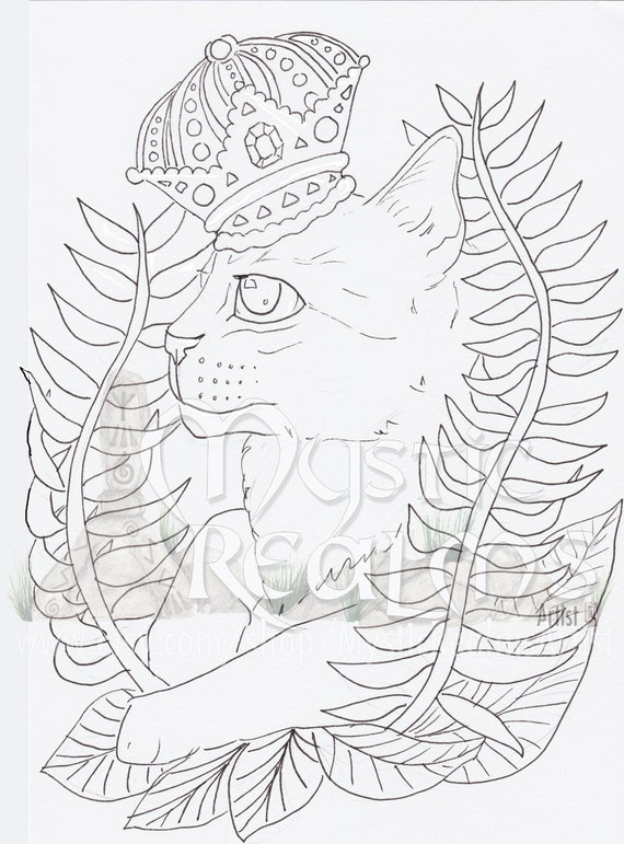 Crowned Tabby Cat Coloring Page Download Fancy Cat Art Big Eyes Hand Drawn Fantasy Cat Art Crown Cat