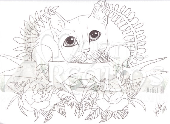Cute Tabby Cat Coloring Page Download Retro Tattoo Cat Etsy