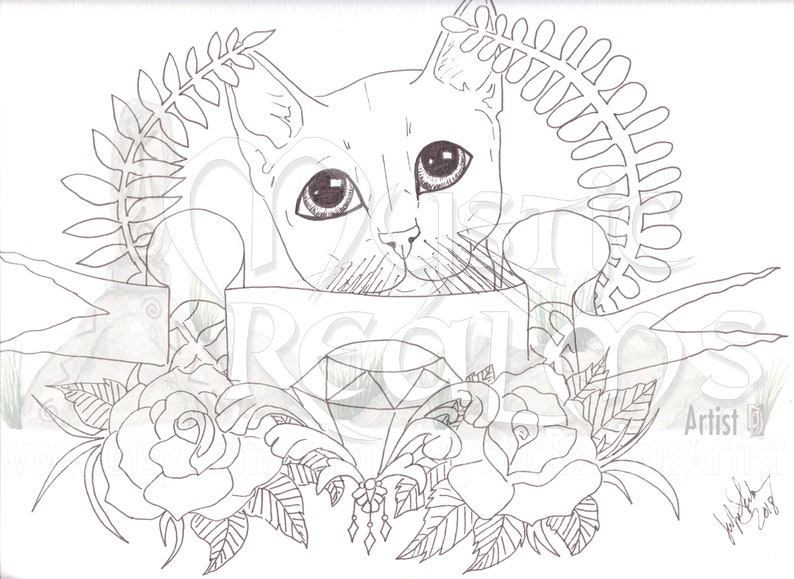Coloriage Yeux Chat.Tabby Chat Coloriage Page Telecharger Chat De Tatouage Etsy