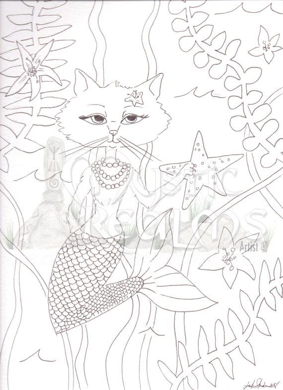 Mercat Cat Mermaid Coloring Page Download Mermaid Hand Etsy