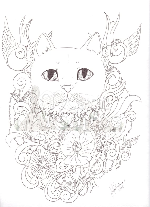 Coloring Page Download Tabby Cat Angel Devil Cat Tattoo Style Fancy Cat Art Big Eyes Fantasy Cat Art Flowers And Birds Cat