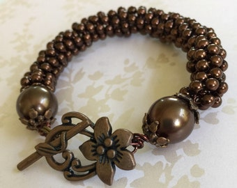 Brown Pearl Coiled Bracelet