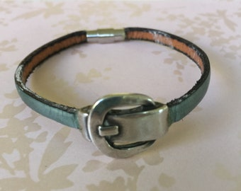 Silver Clasp and Sea Blue Leather Bracelet