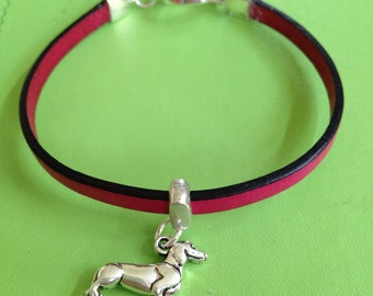 Silver Dachshund and Leather Bracelet