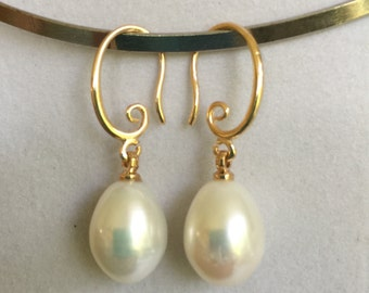 Bridal Gold Pearl Earrings