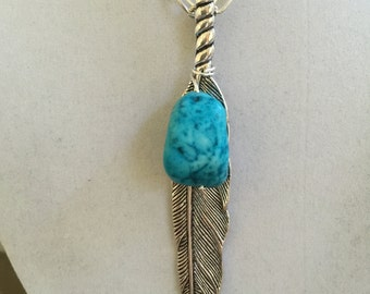 Silver Feather and Turquoise Necklace