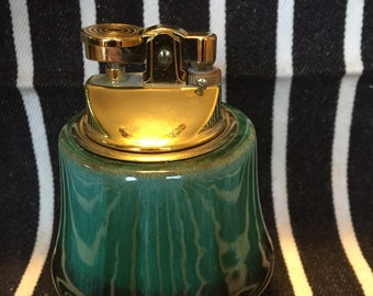 Blue Mountain Pottery tabletop cigarette lighter-green