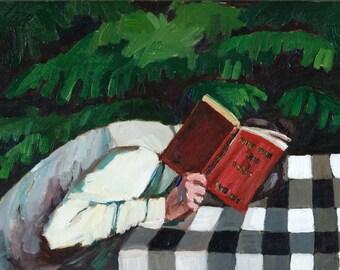 Her Book Original Oil Painting - Figurative Painting // Figurative Art
