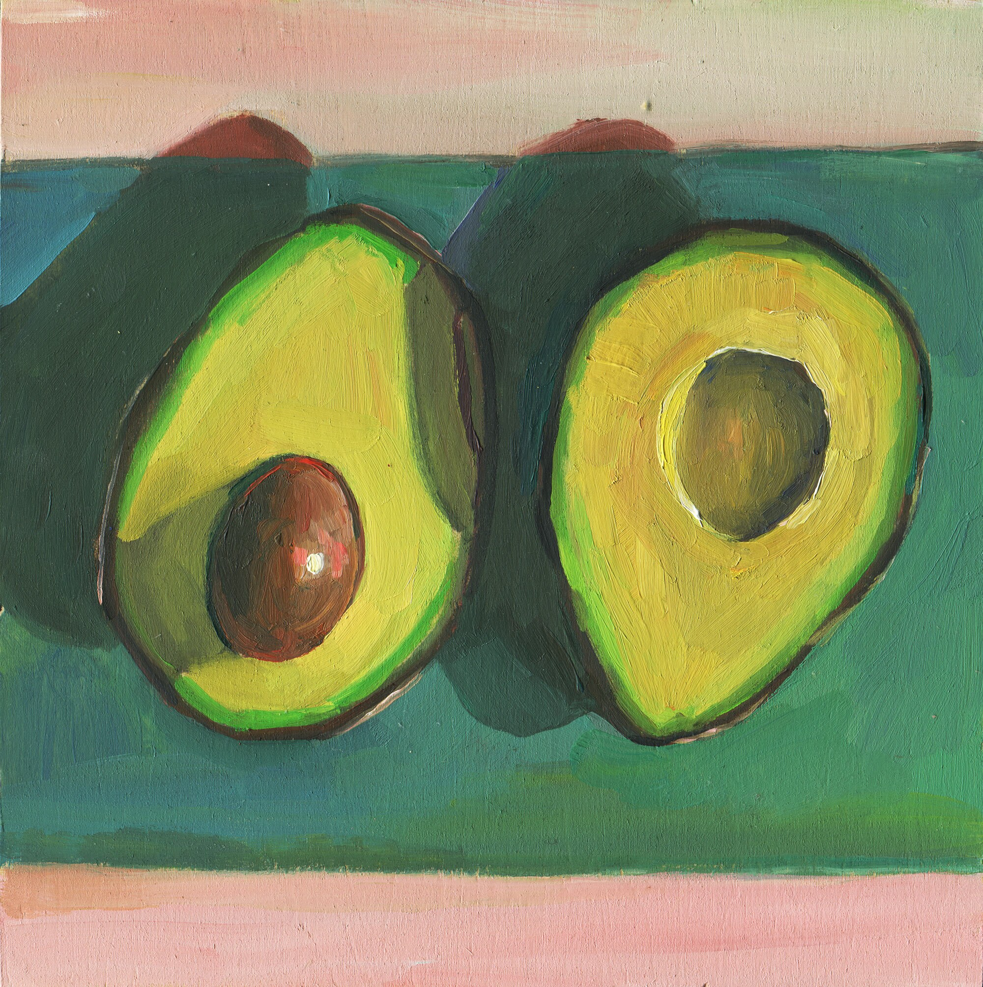 Avocado Original Oil Painting Avocado Wall Decor Fruit Food | Etsy