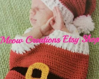 Made To Order Newborn Santa Cocoon   hat 0-3 months Newborn Cocoon and Hat  Baby Shower Gift New Baby Gift Christmas baby Gender Neutral 0ded851b117c