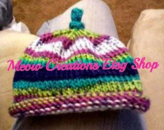 Made to Order- Newborn Roll Brim Knitted Hat w Top Knot in any color ed8ddd431c62