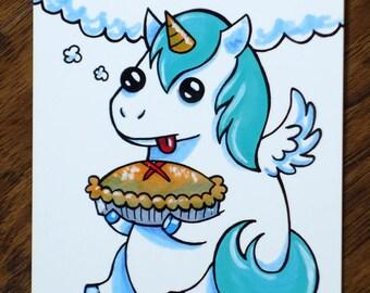 Unicorn With Pie Art Postcard