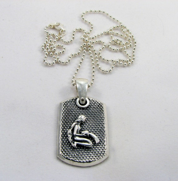 Father's Day - Dog Tag with Aquarius Zodiac Sign - Solid 925 Sterling Silver