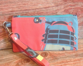 "Doctor Who inspired ""Dalek"" zipper pouch - ready to ship"