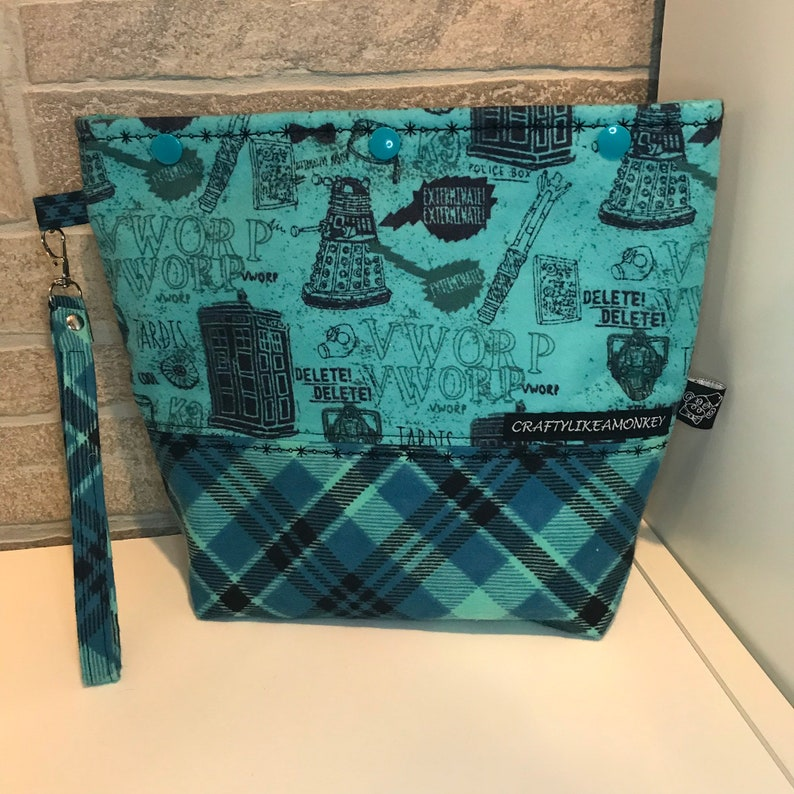 Dr Who inspired snap top project bag with flat bottom ready to ship