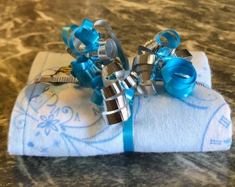 Cinderella Glass Slipper Blue Reversible Burp Cloth - Ready to Ship by ItHapnz